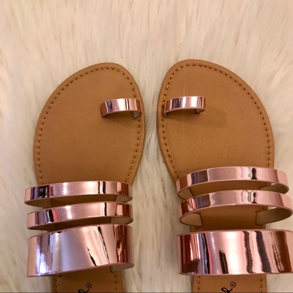 ShopBossyJocey Shoes - Aphrodite Rose Gold Toe Ring Sandals